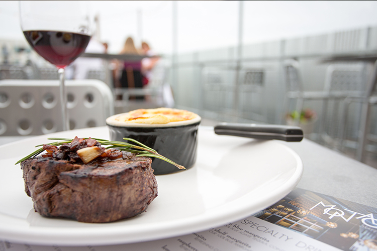 Filet on the rooftop patio